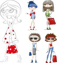 Мультфильм модные девушки