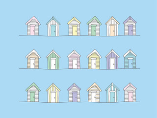 Beach huts - hand drawn
