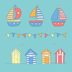 Beach huts, bunting & sailing boats