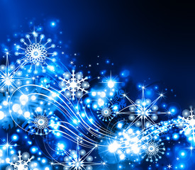 Snowflakes , stars and waves descending background