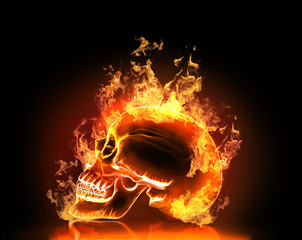 Skull with fire. High resolution 3d render.