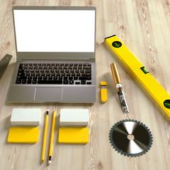 Mock up business template. Carpenter's workspace.