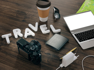 Traveling mock up business template. High resolution 3d render