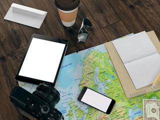 Traveling mock up business template. High resolution 3d render
