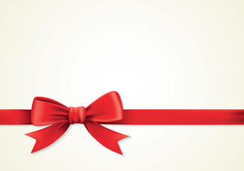 Red ribbons and greeting card, bows, present