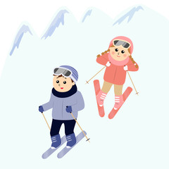 Children skiing in the snowy mountain