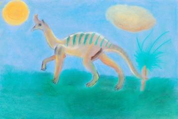 dinosaur walks on green meadow