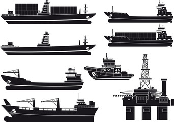 cargo Vessels tugboat and oil platform