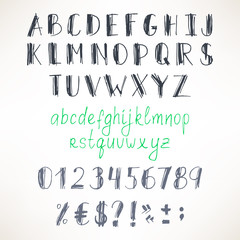 gray and green hand-drawn font
