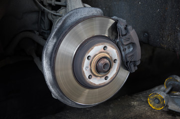 Braking system with disk at a shop having tyres changed suggesting safety maintenence and service