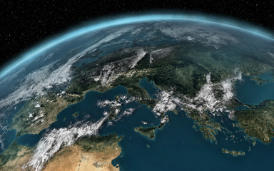 Planet earth with clouds in space european view