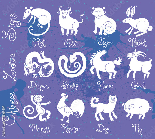 4a001cdf3 Illustrations or icons of all twelve Chinese zodiac animals.