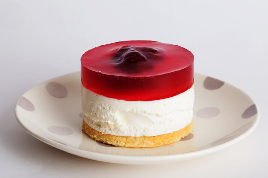 red cake layers with jelly