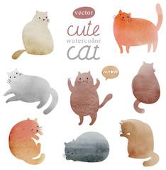 Watercolor vector set cute cat