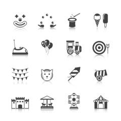 Amusement Park Icons Black