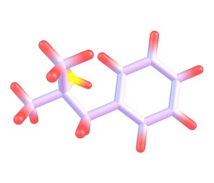 Phentermine molecule isolated on white