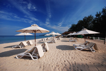Chairs beach and umbrella at Phuket ,Thailand