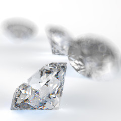 Diamonds 3d composition on white background