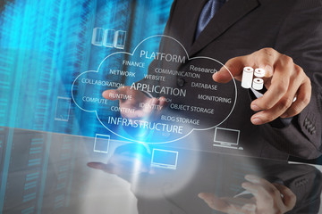 Wall Mural - Businessman hand working with a Cloud Computing diagram on the n