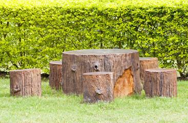 Stumps seats in the garden