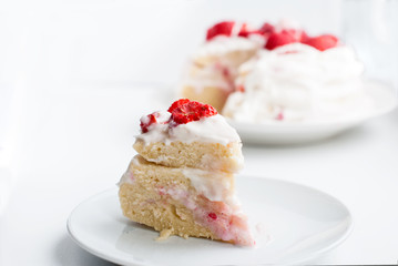 cake with butter cream and strawberries