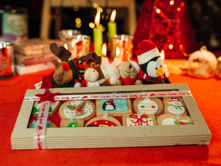 Gingerbread Christmas cookies in gift box
