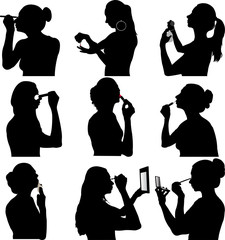 women make up silhouette - vector