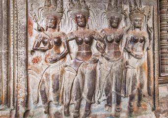 Apsara on the wall of Angkor Wat