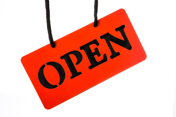 open signboard on white background
