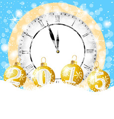 clock and festive marbles with numbers 2015 lie on to snow