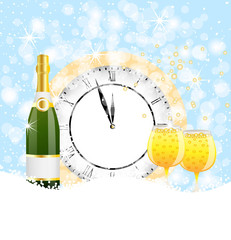 clock, bottle and two glasses of champagne on to snow