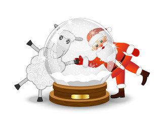 Santa claus and sheep look through a glass festive ball