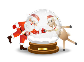 Santa claus and goat look through a glass festive ball