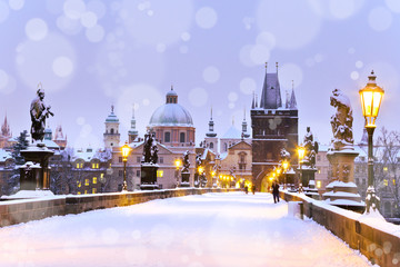 Photo sur Plexiglas Prague Charles bridge, Old Town bridge tower, Prague (UNESCO), Czech r