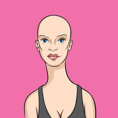 cartoon bald woman