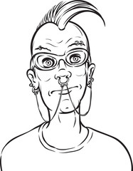 whiteboard drawing - punk with face piercings