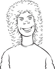 whiteboard drawing - cartoon teenager with curly hair