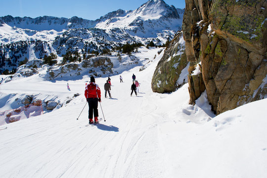 People are skiing in Andorra