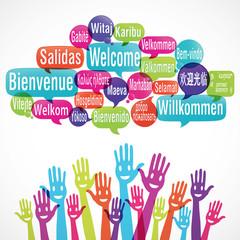 nuage de mots & mains souriantes : bienvenue