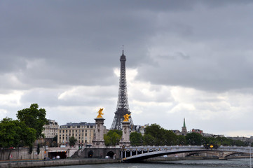 Eiffel Tower and Pont Alexandre III - Stock Image
