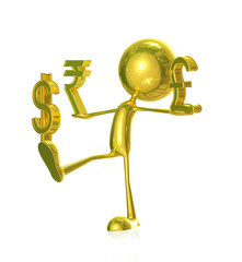 Golden character with rupees, doller and pound sign