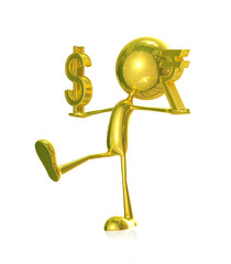 Golden character with rupees and doller