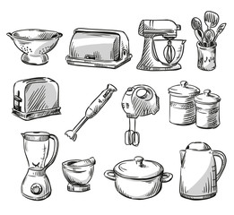 Set of kitchen appliance. Household utensils.
