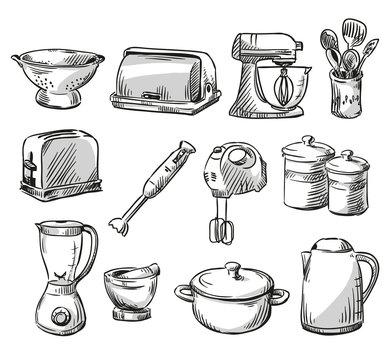 Set of kitchen appliance. Household utensils.