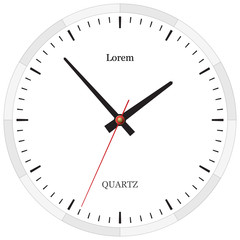 Classic clock without numbers placed on white