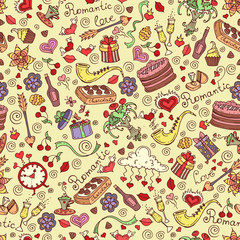 Vector seamless pattern with hand drawn romantic symbols