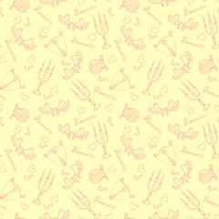 Vector pattern with hand drawn romantic theme on beige