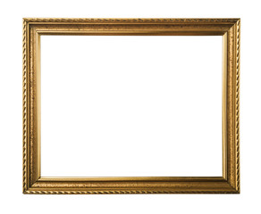 Classic gold frame. Isolated over white background