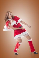 Christmas girl pull something
