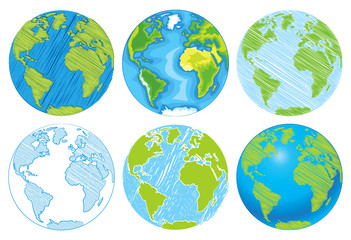 Hand drawn Globe. Sketch illustration of planet earth